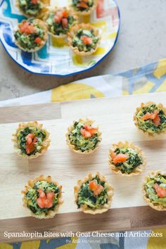 Spanakopita Bites with Goat Cheese and Artichokes from thelittlekitchen.net