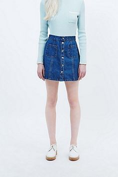 Cooperative A-Line Denim Skirt in Blue - Urban Outfitters