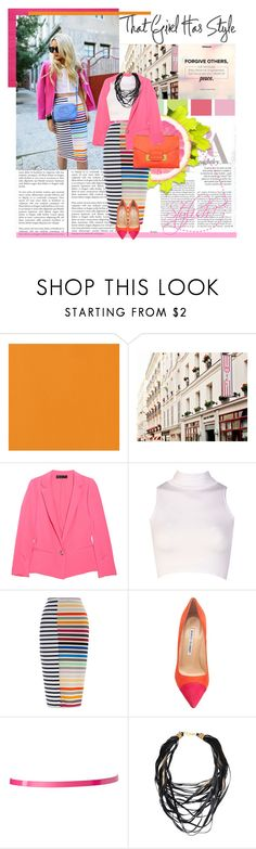 """""""Modern Gal"""" by trudith ❤ liked on Polyvore featuring Elizabeth and James, Boohoo, Tanya Taylor, Manolo Blahnik, ASOS, Sophie Hulme, modern, stripes and pencilskirt"""