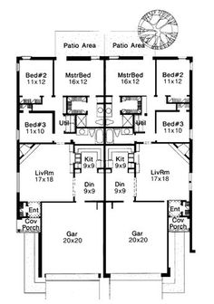 First floor plan of traditional multi-family plan 92222 beach house floor plans, condo The Plan, How To Plan, Beach House Floor Plans, Duplex Floor Plans, Family House Plans, Small House Plans, Family Homes, Modern Flooring, Flooring Cost