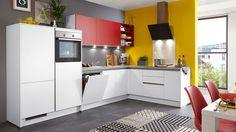Einbauküche in L-Form | Fronten in Weiß & Rot | Korpus in Weiß | Stellfläche ca. 338 x 207 cm #kitchen #küche #weiß #rot