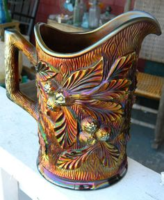 OUTSTANDING ANTIQUE NORTHWOOD CARNIVAL GLASS AMYTHEST PITCHER, ACORN BURRS