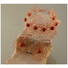 Coral jewelry set, coral jewelry, jewelry set, wire crochet jewelry, copper jewelry, unique jewelry, delicate jewelry, stone jewelry, coral (175 PLN) found on Polyvore