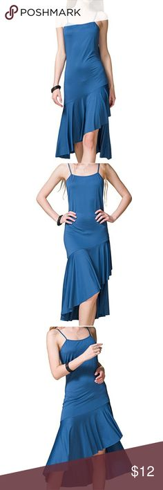 Sleeveless v-neck casual midi low high dress Sleeveless v-neck casual midi low high dress 95% polyester high waist and side split show skinny long legs curves 5% spandex, cool feel comfortable  Size large Dresses High Low
