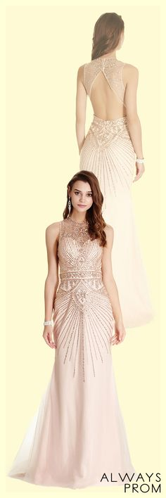 Floor Length Elegant Prom and Evening Gown with Sparkling Gemstones and Rhinestones Embellished Sleeveless Bodice with Semi Sheer High Neck and Cutout Back with Zipper Closure. Floor Length Skirt with Flared Hem and Train Detail Completes the Style. #longpromdress #eleganteveningdresses #onlinestorealwaysprom #dressbyalwaysprom