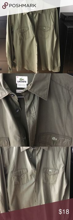 Lacoste army green button down shirt Size 42 modern fit Lacoste army green button down Lacoste Shirts Casual Button Down Shirts