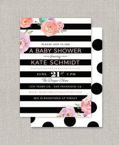 Kate Baby or Bridal Shower Invitation by announcingyou on Etsy Kate Baby, San Fransisco, 25th Birthday, Schmidt, Bridal Shower Invitations, Rsvp, Baby Shower, Handmade Gifts, Etsy