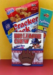 "sunflower seeds-""chew 'em up; spit 'em out!"" gum- "" blow them away"", cracker jack- ""take THEM out OF the ball game"""