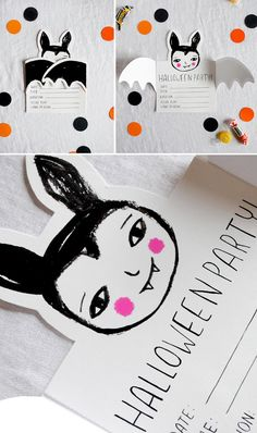 Over 10 pages of fun Halloween printables perfect for festive decor or for throwing the perfect Halloween bash! pumpkin and Happy Halloween banner, trick-or-treaters for paper doll fun or to adhere to drink bottles! Happy Halloween Banner, Halloween Birthday, Halloween Cards, Holidays Halloween, Spooky Halloween, Halloween Themes, Halloween Decorations, Halloween Illustration, Halloween Drawings