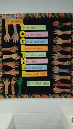 Beginning of the year bulletin board-Put our hands together for a great year! Beginning of the year bulletin board-Put our hands together for a great year! Bulletin Board Design, Back To School Bulletin Boards, Classroom Board, Bulletin Board Display, Classroom Bulletin Boards, Classroom Displays, School Classroom, March Bulletin Board Ideas, English Bulletin Boards