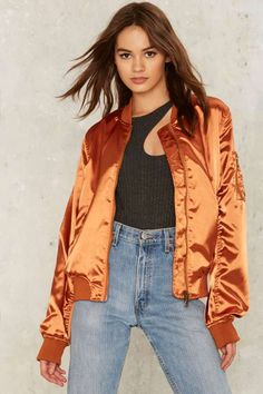 Let it Satin Bomber Jacket - Orange
