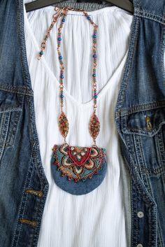 Best 12 Denim Amulet pouch,Textile Pendant necklace,Boho neck bag,Purse and bag,Hippie n… Textile Jewelry, Fabric Jewelry, Boho Jewelry, Fashion Jewelry, Jewellery Box, Medicine Bag, Boho Necklace, Pendant Necklace, Denim Bag