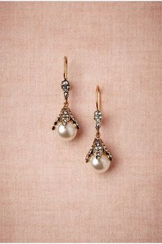 Snow Bud Earrings, Cool white pearls grasped by glittering Deco leaves express the grace of years gone by. Copper and silver alloy, Swarovski crystals, Majorica pearl. Handmade in USA. Bohemian Jewelry, Pearl Jewelry, Antique Jewelry, Jewelry Box, Vintage Jewelry, Jewlery, Wedding Accessories, Jewelry Accessories, Jewelry Design