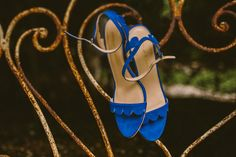 blue wedding shoes - photo by Yes Dear Studio http://ruffledblog.com/romantic-garden-wedding-with-vintage-details