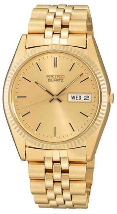 For the Guys and Gals; Gold tone case and bracelet with calendar, day of week and Hardlex crystal. Water resistance to 30 meters. Gift boxed. Ladies version is SWZ058. Entire Seiko line is available.