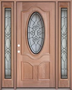 Classic 3/4 Oval Mahogany Front Door With Sidelights