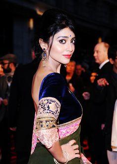 Navy velvet blouse with bright sari border