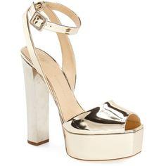 Women's Giuseppe Zanotti 'Lavinia' Platform Sandal (€715) ❤ liked on Polyvore featuring shoes, sandals, heels, giuseppe zanotti, sapatos, gold patent, platform heel sandals, platform shoes, heeled sandals and platform sandals