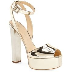 Giuseppe Zanotti'Lavinia' Platform Sandal (28,320 THB) ❤ liked on Polyvore featuring shoes, sandals, heels, giuseppe zanotti, обувь, gold patent, giuseppe zanotti sandals, high platform sandals, patent leather sandals and heeled sandals