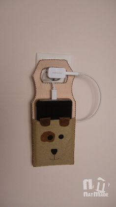 Dog phone charge holder - cellphone charge case - felt modile charge holder by NatmadeCrafts on Etsy