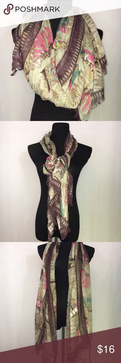 "🆕 Parrot Tan Pink Green Print Large scarf new 🆕 Parrot Tan Brown Pink Green Print Large scarf new. 100% polyester lightweight fabric. Beautiful print. Measures approximately 76""x37"". Smoke free home. (PO1) G Accessories Scarves & Wraps"