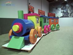This cute toy train won an award - it's huge and made by digital printing on a special type of board!