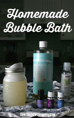 Homemade Bubble Bath - use this natural DIY bubble bath recipe for adults, kids, even infants. It's so gentle and simple (cheap) to make - DontMesswithMama.com