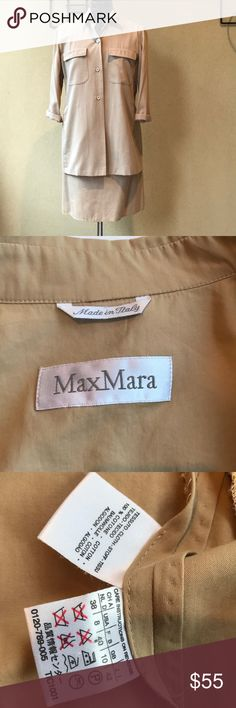 SALE! Max Mara vintage skirt and shirt Max Mara vintage shirt and skirt. Size 42 Italy, USA 8, but fits more like 6. In great vintage condition! No stains. Sold as set but will consider selling as separates. Max Mara Tops Button Down Shirts