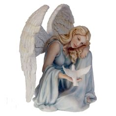 Guardian of Peace Angel by Nemesis Now from Absolute Angels Dressed in light blue this beautiful Angel rests her head on one knee whilst gazing at a