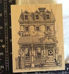 Garden Watering Cans Stairs Wood Mounted Rubber Stamp Impression Obsession NEW