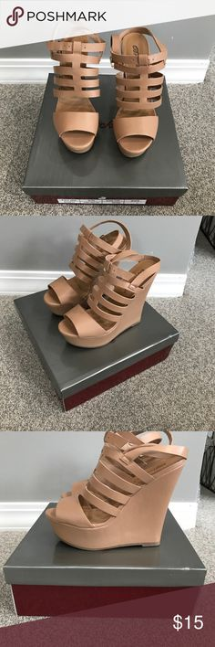 Nude wedges Worn once! Basically new! Shoes Wedges