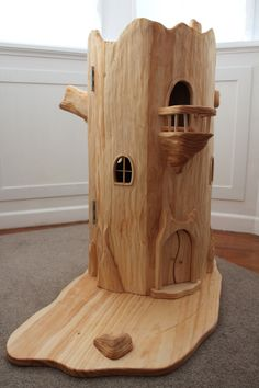 Tree Stump Fairy House- oh the possibilities I see! Love that it's plain  just waiting to be decorated  Landscaped with your own special touch! Awesome!