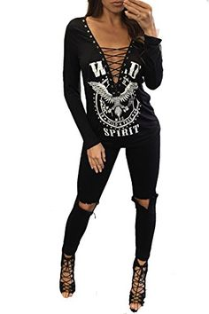 Special Offer: $16.99 amazon.com Bdcoco Women's Sexy V-neck Print Long Sleeve Casual T-shirt Bandage Tops Black Matrial:Polyester SpandexColor:BlackStyle:Sexy V-neck bandage print long sleeve t-shirtOccasion:casual,outdoor,leisure,basic,office, school, party, club anywhereSize type:S...