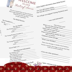 Latter-Day Chatter: Relief Society Welcome Packet