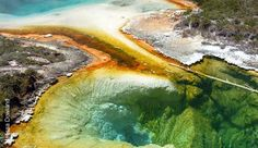 "Yellowstone hot spring. Thermophile microorganisms actually produce the colors seen in this image.  I think this represents Flynn, et. al. article in that if we were to just examine the microorganisms, we would be disgusted - however, by pulling away we are to shown true beauty, and therefore, if ""seen only under one aspect [it] is permitted to present itself in only one perspective"" (p.143)."