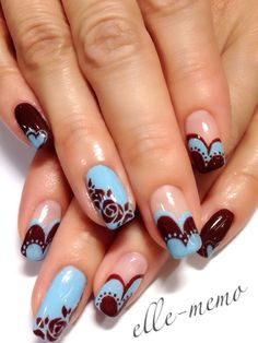 Baby blue and a chocolate burgundy make a cute but sophisticated color pair in this nail design.This looks similar to the lace tutorial we have on the MendaBeauty Tips 'n Tricks board and for you crafty DIY people, could be your next ManiMonday manicure. http://www.pinterest.com/pin/381469030909580181/