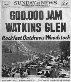 Summer Jam at Watkins Glen New York Pictures, Old Pictures, Watkins Glen New York, Watkins Glen International, Woodstock Festival, Go To High School, Summer Jam, Newspaper Headlines, Allman Brothers