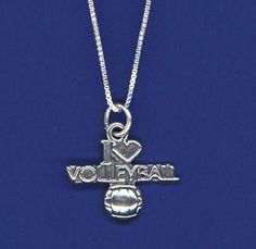 I Love Volleyball necklace, another unique piece of volleyball jewelry by GymRats Volleyball necklaces, bracelets, and earrings. Volleyball Necklace, Volleyball Outfits, Clothing Co, Pendant Necklace, Silver, Volleyball Clothes, Drop Necklace, Money