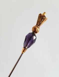 17cm Strong & Sturdy Steel Hat Pin With End Protector - Violet & ATQ Gold Tone