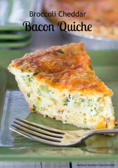 """Broccoli Cheddar Bacon Quiche – This cheesy broccoli cheddar quiche could only get better with the addition of bacon. The smoky undertones that bacon gives to the custard is mouthwatering. I'm not sure who started the saying """"real men don't eat quiche"""" b Bisquick Quiche Recipe, Quiche Recipes, Brunch Recipes, Bacon Recipes, Kiesh Recipes, Crust Recipe, Quiche Au Brocoli, Broccoli Cheddar Quiche, One Pot Dinners"""