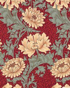 William Morris - Merton - Chrysanthemum - Quilt Fabrics from www.eQuilter.com