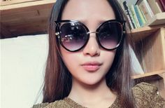 Cat Eye Glasses For Women 2015 Hot Sale Fashion Lady Sunglasses Metal Frame Oval Lens