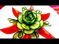 HOW TO MAKE CUCUMBER ROSE FLOWER DESIGN  - CARROT GARNISH & VEGETABLE CARVING - TOMATO CUTTING - YouTube