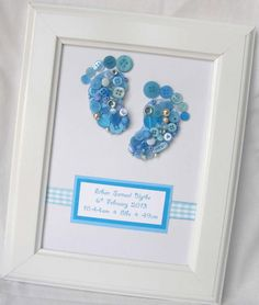 Button baby footprints - great gift for a new baby:-) available at www.facebook.com/shanouki