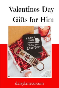 Perfect Valentine's Day gift for men! Make him laugh this Valentine's Day with this fun beer gift set. Fun Valentines Day gift for boyfriend. Valentines Day beer can cooler and bottle opener set are delivered in a gift box. Valentines gift idea for husband or crush to show your love this year. Valentines Day Gift for him that is fun & functional! Shop daisylaneco.com to purchase this amazing gift idea for Valentine's Day. Sign up for our newsletter to receive a special discount.