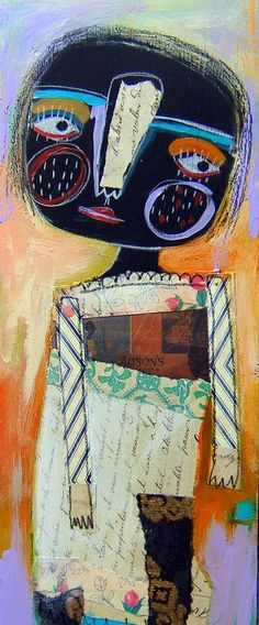 Magaly Ohika #illustration Wood box mix media collage Her name is Ophelia Tiddlebug #mixedmedia