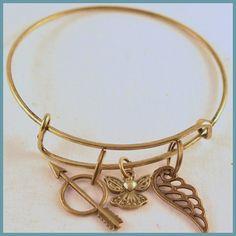 Antique Gold Bracelet Inspired by Alex & Ani Greek by Arrimage, sorority, pbp, pi beta phi, angel, angel wing, arrow