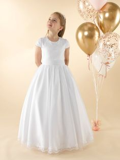 LWCD38 Communion Dress Holy Communion Dresses, First Holy Communion, Little White, Sash, Holi, Bodice, Tulle, Flower Girl Dresses, Wedding Dresses