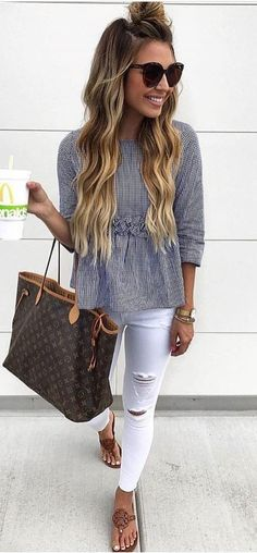 #summer #outfits  Striped Top + White Ripped Skinny Jeans