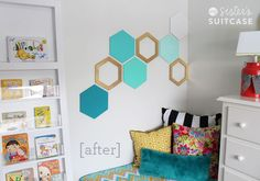 Easy Hexagon Wall Treatment - My Sister's Suitcase - Packed with Creativity